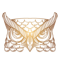Muzzle of an owl for creating sketches of tattoos vector