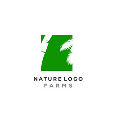 Palm leaf logo designs in negative space type vector
