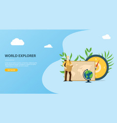 people explore and adventure the world website vector image
