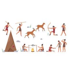 Primal tribe people hunt set primitive tribesman vector