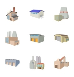 Production plant icons set cartoon style vector image