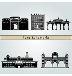 Pune landmarks and monuments vector image