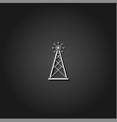 radio tower broadcast antenna icon flat vector image
