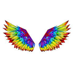 rainbow polygonal wings vector image