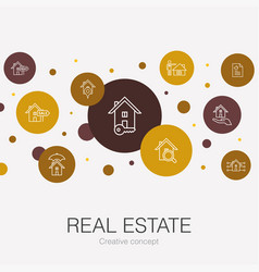 Real estate trendy circle template with simple vector