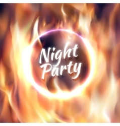 ring fire fiery circle on poster vector image