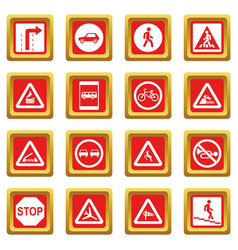 Road sign set icons set red vector