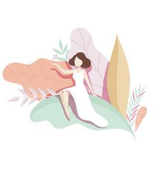 Romantic girl sitting on the giant leaf faceless vector