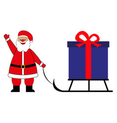 santa claus drags a big box on a sled with a gift vector image