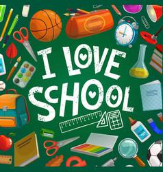 school supplies student book bag on blackboard vector image