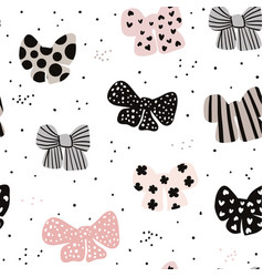 Seamless hand drawn pattern with bows fashion vector
