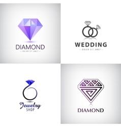 Set jewellery logos ring wedding vector