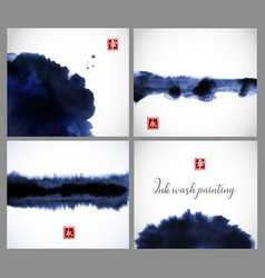 Set of blue ink wash painting textures on white vector
