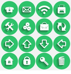 Set of Green Flat Style Round Buttons vector image