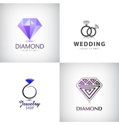 Set of jewellery logos Ring wedding vector
