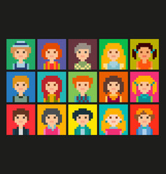 Set of square pixel avatars vector
