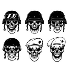 set soldier skulls in paratrooper beret vector image