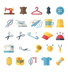 sewing equipment and needlework flat icons vector image