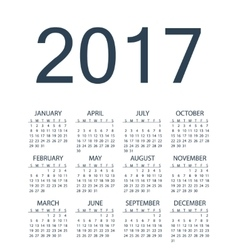 Simple calendar for 2017 year vector image
