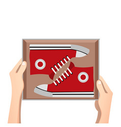 Sneakers with box vector