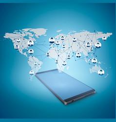 social media concept mobile internet and social vector image