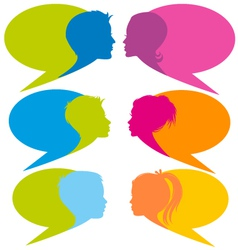 speech bubbles with faces vector image vector image