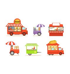 street cart and booth with man and woman at market vector image