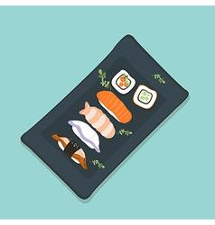 Sushi Set sashimi and sushi rolls vector