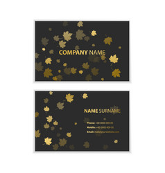 template of business cards with autumn leaves vector image