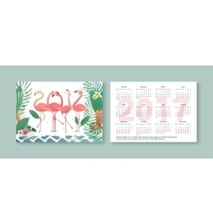 Tropical pocket calendar 2017 with flamingos vector image