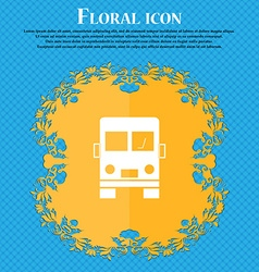 Truck icon sign Floral flat design on a blue vector image