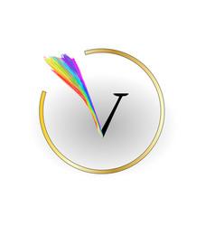 V rainbow letter design vector