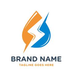 water electric logo design vector image