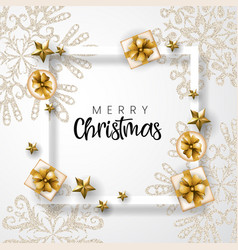 White and golden merry christmas background vector