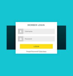 white member login form on blue background in vector image