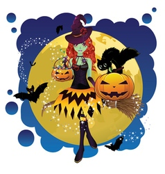 Witch and Full Moon10 vector image