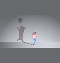 Woman dreaming about being a child shadow of vector