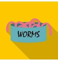 Worms icon flat style vector