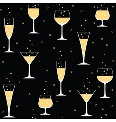 champagne glasses on black vector image vector image