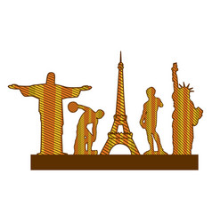 color silhouette of set of the world landmark vector image vector image