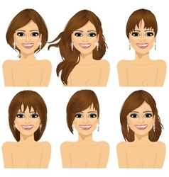 girl with collection of different hairstyles vector image vector image