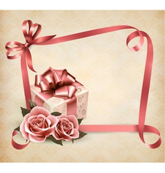 Holiday background gift box vector image