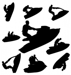 jet ski silhouettes vector image vector image