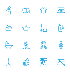 set of 16 editable hygiene outline icons includes vector image vector image