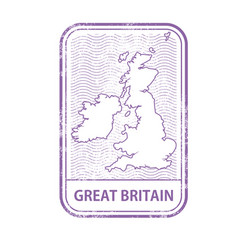 stamp with contour of map of great britain vector image