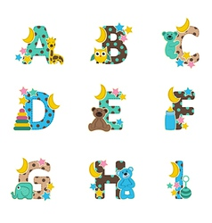 alphabet baby from A to I vector image