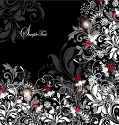 floral card with white gray and red elements vector image vector image