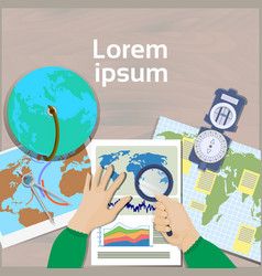 Hand hold magnifying glass study maps top angle vector