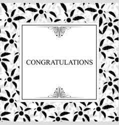 stylish greeting card with black leaves vector image vector image