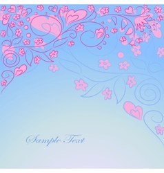 blue background with hand drawing ornate vector image